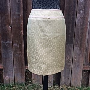 Ann Taylor Sage Green Floral Pencil Skirt